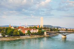 Aerial overview of Basel cityscape. In Switzerland Royalty Free Stock Photo