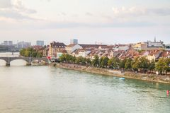 Aerial overview of Basel cityscape. In Switzerland stock photography