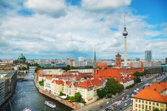 Aerial overview of Berlin. Germany on a cloudy day Stock Images