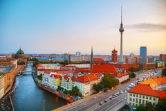 Aerial overview of Berlin. Germany at the sunrise Stock Images