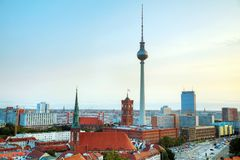 Aerial overview of Berlin. Germany at the sunrise royalty free stock photos