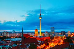 Aerial overview of Berlin. Germany at the sunset Royalty Free Stock Photo