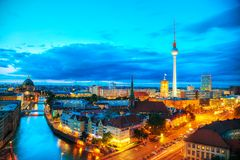 Aerial overview of Berlin. Germany at the sunset Stock Photography