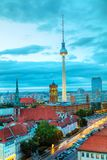 Aerial overview of Berlin. Germany at the sunset Royalty Free Stock Photos