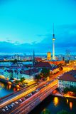 Aerial overview of Berlin. Germany at the sunset stock photo