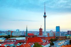 Aerial overview of Berlin. Germany at the sunset royalty free stock photography