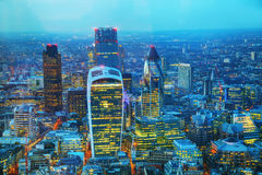 Aerial overview of the City of London financial ddistrict. At night royalty free stock photo