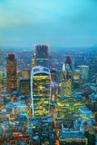 Aerial overview of the City of London financial ddistrict Stock Images