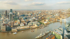Aerial overview of London city Royalty Free Stock Images