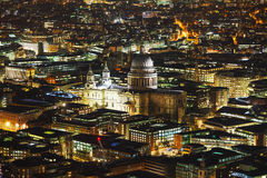 Aerial overview of London city with the St Pauls Cathedral Royalty Free Stock Photos