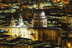 Aerial overview of London city with the St Pauls Cathedral Royalty Free Stock Images