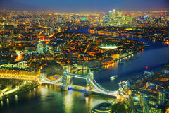 Aerial overview of London city with the Tower bridge Royalty Free Stock Image
