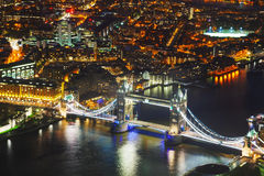 Aerial overview of London city with the Tower bridge Royalty Free Stock Photo