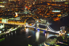 Aerial overview of London city with the Tower bridge Stock Images