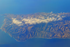 Aerial of Pacific Ocean and Catalina Islands off California Stock Images