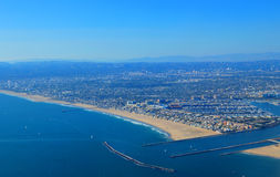 Aerial from Pacific Ocean of Los Angeles California Stock Photo