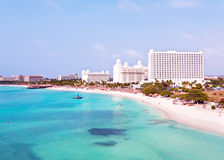 Aerial from Palm beach at Aruba in the Caribbean Royalty Free Stock Image