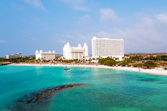 Aerial from Palm Beach on Aruba island in the Caribbean Stock Photos