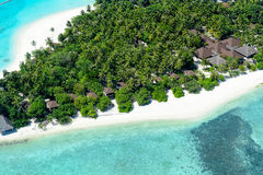 Aerial of Palm Beach Resort, Maldives Island Royalty Free Stock Photos