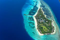 Aerial of Palm Beach Resort and Spa, Maldives Island Royalty Free Stock Image