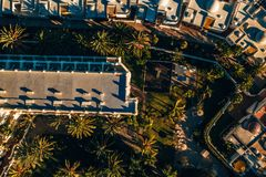 Aerial palms building view. Tropical resort. Beautiful Aerial View from Above stock photos