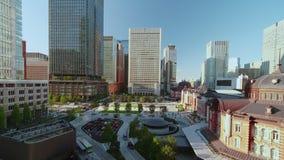 Aerial pan video of Marunouchi side of Tokyo railway station in the Chiyoda City, Tokyo, Japan
