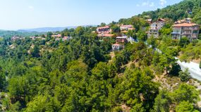 Aerial Pano Platres village, Limassol, Cyprus stock photos