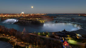 Aerial panorama of American Falls and Horseshoe Falls at night Stock Photography