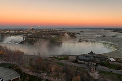 Aerial panorama of American Falls and Horseshoe Falls at sunset. Royalty Free Stock Image