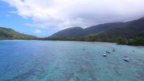 Aerial panorama of Anse L`Islet, Port Glaud, Mahe Island, Seychelles 1. Drone shot panorama of Port Glaud, Mahe Island, Seychelles stock video