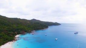 Aerial Panorama Of Anse Lazio Beach, Praslin Island, Seychelles. Drone Shot Panorama Of Anse Lazio,Praslin Island, Seychelles stock video