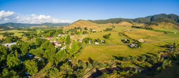 Aerial panorama of Australian countryside at sunset. Royalty Free Stock Photos