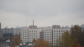 Aerial panorama of autumn city in cloudy sky - residential district Royalty Free Stock Images
