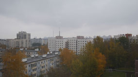 Aerial panorama of autumn city in cloudy sky Stock Images