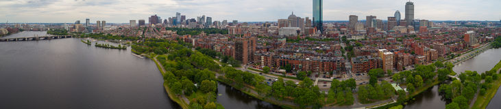 Aerial panorama Beacon Hill Boston. Aerial image of Beacon Hill Boston and the Charles River Stock Photo
