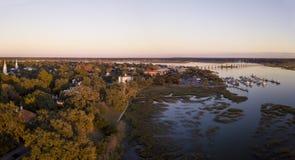 Aerial panorama of Beaufort, South Carolina at sunset. Stock Photos
