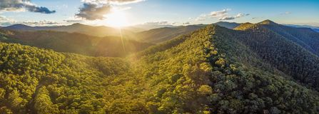Aerial panorama of beautiful Australian Alps at sunset. Forested hills and rural road. stock photo
