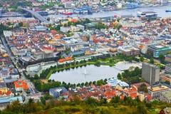 Aerial panorama of Bergen, Norway Royalty Free Stock Photo