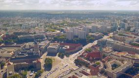 Aerial panorama of Berlin street traffic on sunny summer day, timelapse. Stock footage stock video footage