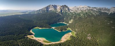 Aerial panorama of Black Lake in Montenegro Stock Photos