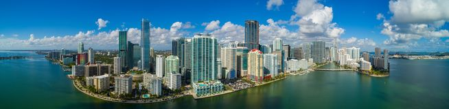 Aerial panorama Brickell Miami FL bayfront image. Aerial panorama of Brickell Miami Downtown for large scale prints Stock Images