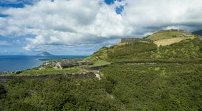 Aerial view of Brimstone Fortress on the island of St Kitts. Stock Photo