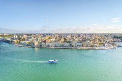 Aerial panorama of Brindisi, Puglia, Italy. Aerial panorama of Brindisi in the afternoon, Puglia, Italy Royalty Free Stock Images