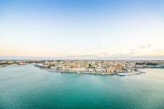 Aerial panorama of Brindisi, Puglia, Italy. Aerial panorama of Brindisi in the afternoon, Puglia, Italy royalty free stock image