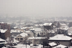 Aerial panorama of bulgarian town in snow Stock Photos