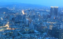 Aerial panorama of busy Taipei City ~ Royalty Free Stock Images