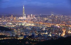 Aerial panorama of busy Taipei City ~ Stock Image