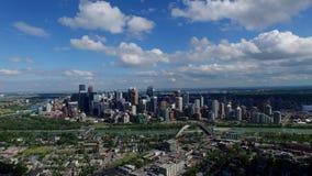 Aerial panorama Calgary Alberta stock footage