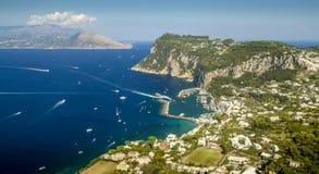 Aerial panorama of Capri island, Italy Stock Photos