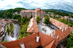 Aerial panorama of Cesky Krumlov Castle courtyard. South Bohemia Royalty Free Stock Image